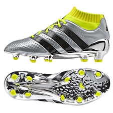 Adidas ACE 16.1 Primeknit Youth FG Soccer Cleats (Silver Metallic/Core Black/Solar Yellow) |  Adidas Soccer Cleats |FREE SHIPPING| Adidas BB0781 |  SOCCERCORNER.COM
