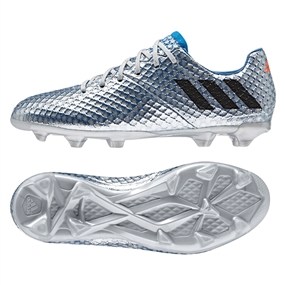 Adidas Messi 16.1 Youth FG Soccer Cleats (Silver Metallic/Core Black/Shock Blue) |  Adidas Soccer Cleats | FREE SHIPPING | Adidas BB3850 |  SOCCERCORNER.COM
