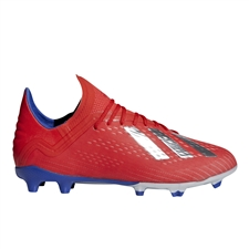 Adidas X 18.1 Youth FG Soccer Cleats (Active Red/Silver Metallic/Bold Blue) | Adidas BB9353 |  SOCCERCORNER.COM