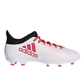 Adidas X 17.3 Youth FG Soccer Cleats (White/Real Coral/Core Black) | Adidas Soccer Cleats | FREE SHIPPING | Adidas CP8991 |  SOCCERCORNER.COM