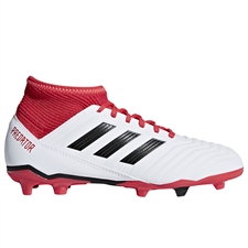 Adidas Predator 18.3 Youth FG Soccer Cleats (White/Core Black/Real Coral)