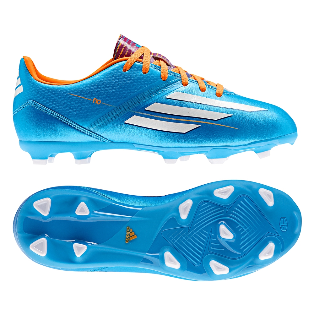 Adidas F10 TRX FG Youth Soccer Cleats (Solar Blue/White/Solar Zest)
