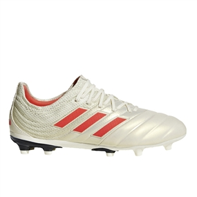 Adidas Copa 19.1 Youth FG Soccer Cleats (Off White/Solar Red/Core Black)