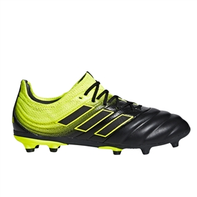 Adidas Copa 19.1 Youth FG Soccer Cleats (Core Black/White/Solar Yellow)
