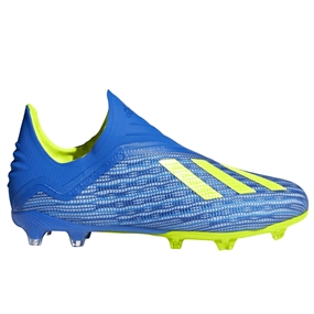 Adidas X 18+ Youth FG Soccer Cleats (Football Blue/Solar Yellow/Core Black)