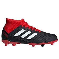 Adidas Predator 18.3 Youth FG Soccer Cleats (Black/White/Red)