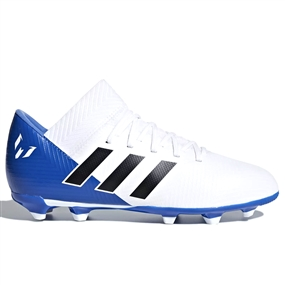 Adidas Nemeziz Messi 18.3 Youth FG Soccer Cleats (White/Black/Football Blue) | Adidas DB2364