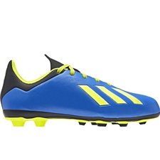 Adidas X 18.3 Youth FG Soccer Cleats (Football Blue/Solar Yellow/Core Black) | Adidas DB2416 |  SOCCERCORNER.COM