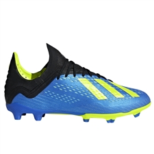 Adidas X 18.1 Youth FG Soccer Cleats (Football Blue/Solar Yellow/Core Black) | Adidas DB2428 |  SOCCERCORNER.COM