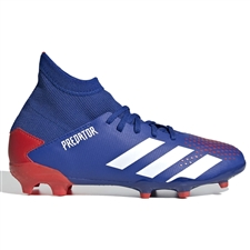 Adidas Youth Predator 20.3 FG Soccer Cleats (Team Royal Blue/White/Active Red)