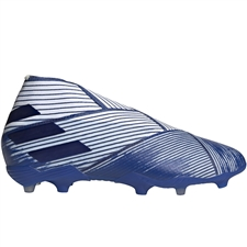 Adidas Youth Nemeziz 19+ FG Soccer Cleats (White/Team Royal Blue)