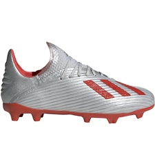 Adidas X 19.1 Youth FG Soccer Cleats (Silver Metallic/Hi-Res Red/White)