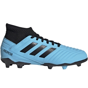 Adidas Youth Predator 19.3 FG Soccer Cleats (Bright Cyan/Core Black/Solar Yellow)