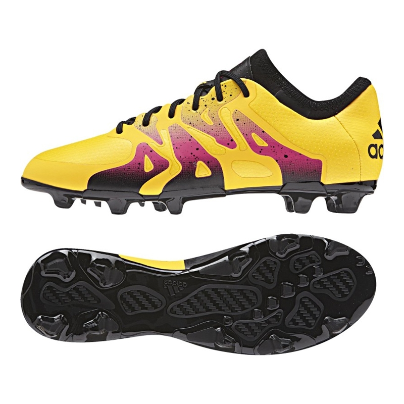 Adidas X 15.1 Youth FG/AG Soccer Cleats (Solar Gold/Black/Shock Pink)