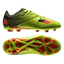 Adidas Messi 15.3 Youth FG/AG Soccer Cleats (Semi Solar Slime/Solar Red/Black)