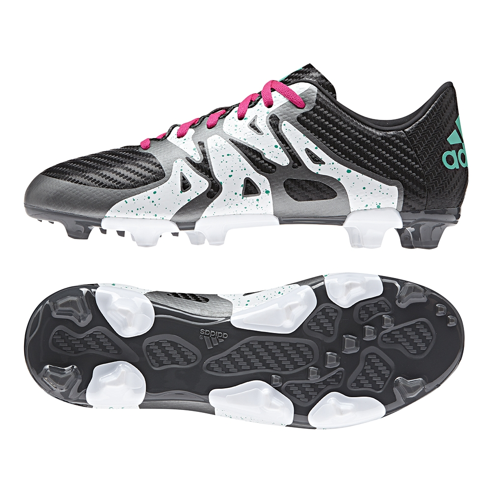 adidas X 15.3 FG/AG - Core Black/Shock Mint/White - Rugby Boots