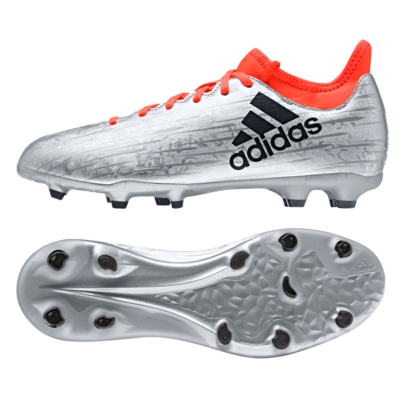 best service 1c42f 5d2e6 Adidas X 16.3 Youth FG Soccer Cleats (Silver Metallic/Core Black/Solar Red)
