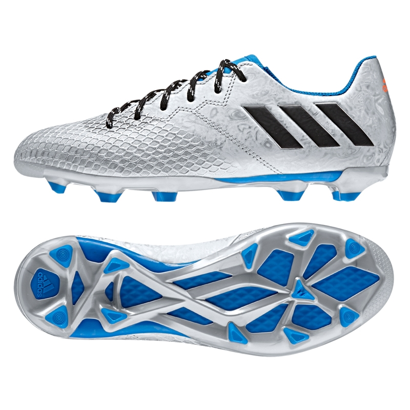 d4f007c38 Adidas Messi 16.3 Youth FG Soccer Cleats (Silver Metallic Core Black Shock  Blue