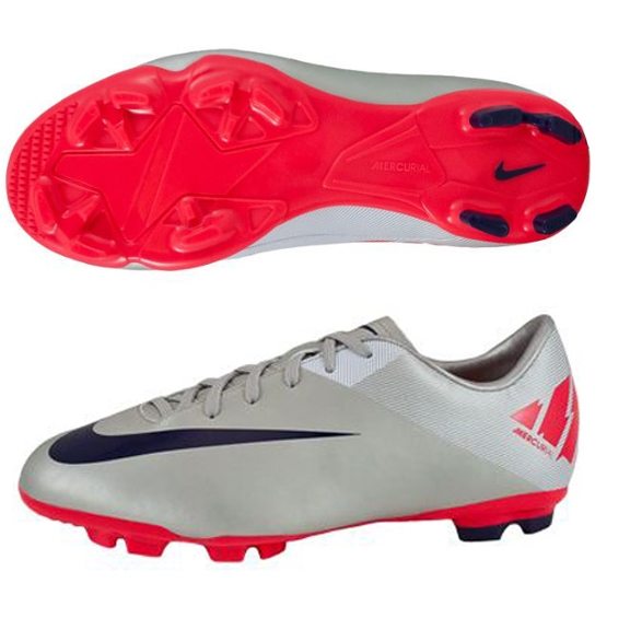 online store 2223e 9f036 Nike Mercurial Victory II FG Youth Soccer Cleats (Granite/White/Solar  Red/Imperial Purple)