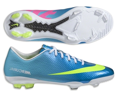 free shipping 34f5a 96651 Nike Soccer Cleats   555601-474   FREE SHIPPING  Nike Youth Mercurial Vapor  IX FG Soccer Cleats (Neptune Blue Tide Pool Blue Pink Flash Volt) ...