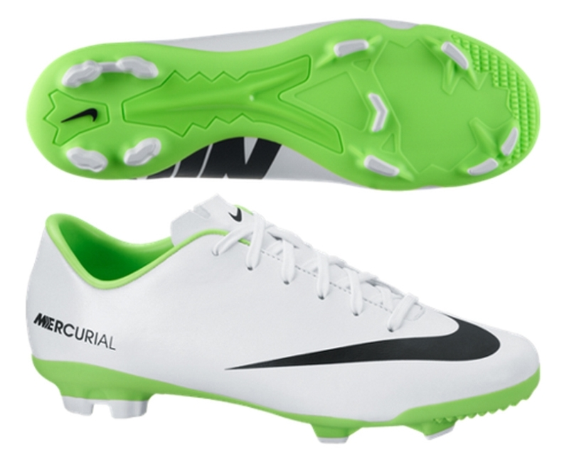 Nike Youth Mercurial Veloce FG Soccer Cleats (White Electric Green Black) 7ccf3800e