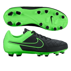 Nike Youth Tiempo Genio FG Soccer Cleats (Black/Green Strike)