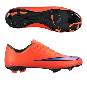 Nike Youth Mercurial Vapor X FG Soccer Cleats (Bright Crimson/Persian Violet)