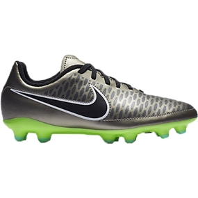 Nike Youth Magista Onda FG Soccer Cleats (Metallic Pewter/Black/Ghost Green)