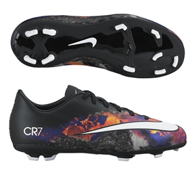 Nike Mercurial Victory V CR7 FG Youth Soccer Cleats (Black/Total Crimson/White)