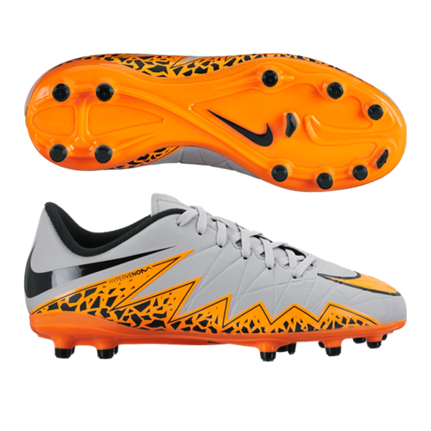 67075309ed6  49.49 - Nike Hypervenom Phelon II Youth Soccer Cleats (Wolf Grey Total  Orange Black)