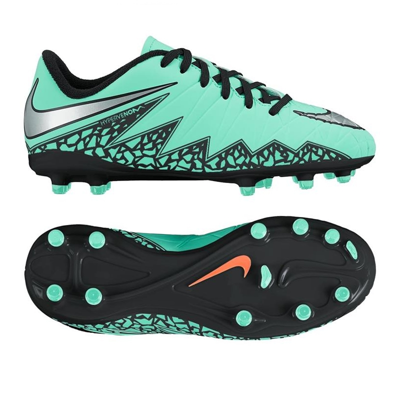 Nike Hypervenom Phelon II Youth Soccer Cleats (Green Glow Hyper  Orange Metallic Silver)  fec94ae4de