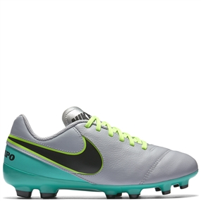 Nike Youth Tiempo Legend VI FG Soccer Cleats (Wolf Gray/Black/Clear Jade)