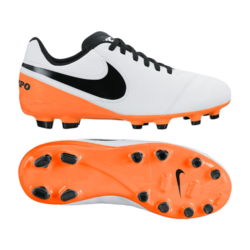 new styles cac3e 93b57 Nike Youth Tiempo Legend VI FG Soccer Cleats (White/Total Orange/Black)