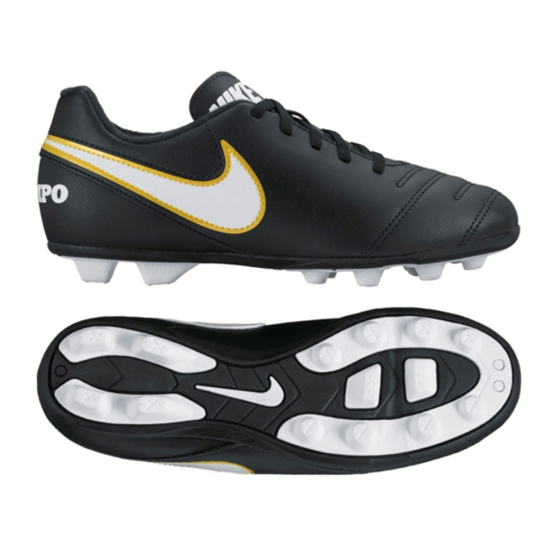 Nike Tiempo Rio III FG Youth Soccer Cleats (Black White)  43aac066ec606