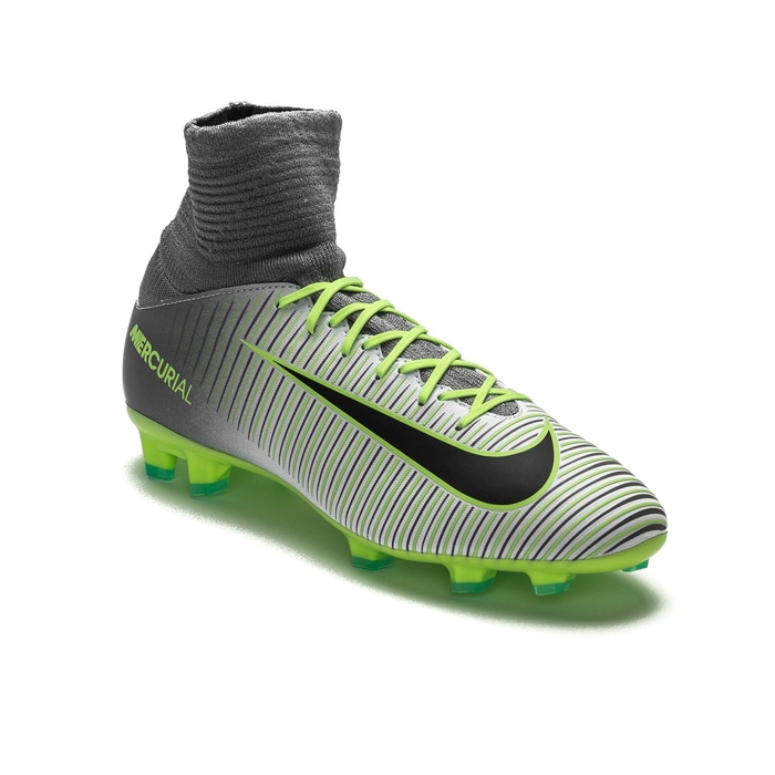 eeb102fce2c3 Nike Youth Mercurial SuperFly V FG Soccer Cleats (Pure Platinum Black Ghost  Green)