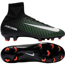 Nike Youth Mercurial SuperFly V FG Soccer Cleats (Black/White/Electric Green)