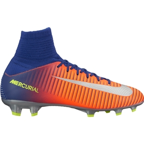 Nike Youth Mercurial SuperFly V FG Soccer Cleats (Deep Royal Blue/Chrome/Total Crimson)