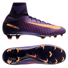 Nike Youth Mercurial SuperFly V FG Soccer Cleats (Purple Dynasty/Bright Citrus/Hyper Grape)