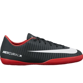 Nike Youth Mercurial Vapor XI IC Indoor Soccer Shoes (Black/White/Dark Grey/University Red)