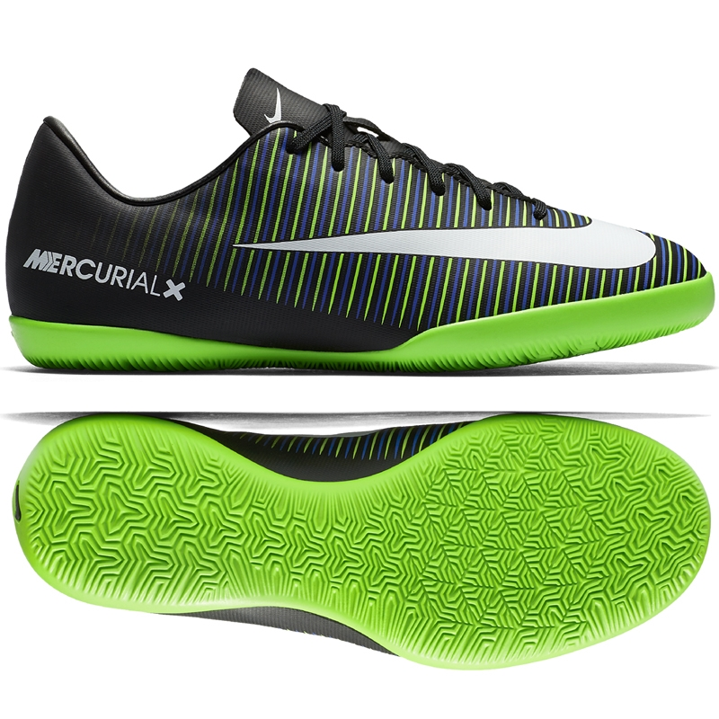 Nike Youth Mercurial Vapor XI IC Indoor Soccer Shoes (Black/White/Electric  Green