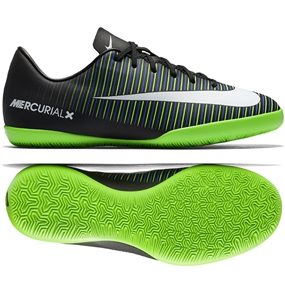 Nike Youth Mercurial Vapor XI IC Indoor Soccer Shoes (Black/White/Electric Green)