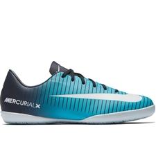 Nike Youth MercurialX Vapor XI IC Indoor Soccer Shoes (Obsidian/White/Gamma Blue)