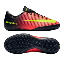 Nike Youth Mercurial Vapor XI Turf Soccer Shoes (Total Crimson/Volt/Black/Pink Blast)