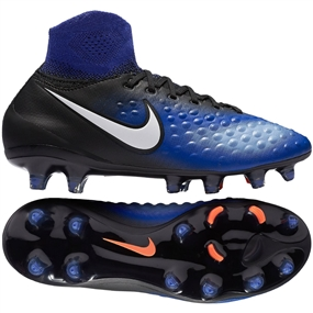 Nike Magista Obra II FG Youth Soccer Cleats (Black/White/Paramount Blue/Blue Tint)