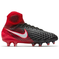 Nike Youth Magista Obra II FG Soccer Cleats (Black/White/University Red)
