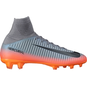 Nike Youth Mercurial SuperFly V CR7 FG Soccer Cleats (Cool Grey/Metallic Hematite/Wolf Grey)