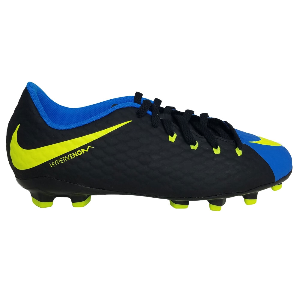 Nike Youth Hypervenom Phelon III FG Soccer Cleats Black Volt Photo Blue