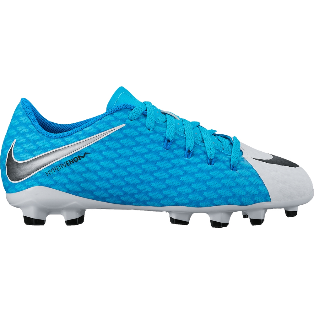 426f76795f2 Nike Youth Hypervenom Phelon III FG Soccer Cleats (White Black Photo  Blue Chlorine Blue)