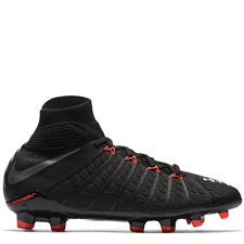 Nike Youth Hypervenom Phantom III DF FG Soccer Cleats (Black/Metallic Silver/Anthracite)