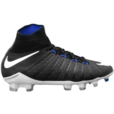 Nike Youth Hypervenom Phantom III DF FG Soccer Cleats (Black/White/Cool Grey/Royal)